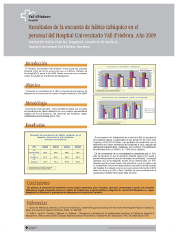 Resultats de l'enquesta d'hàbit tabàquic al personal de l'Hospital Universitari Vall d'Hebron. Any 2009