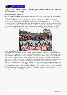 Migrantes centroamericanos exigen la desaparición del INM en Tabasco (México)