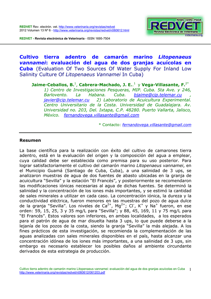 Cultivo tierra adentro de camarón marino Litopenaeus vannamei