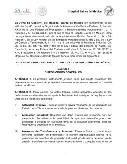 Reglas de propiedad intelectual del Hospital Juárez de México