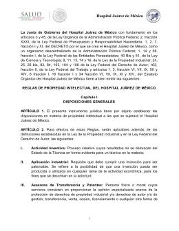 22. Reglas de Propiedad Intelectual del Hospital Juárez de México.