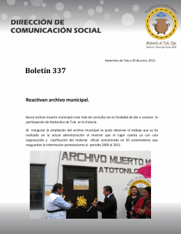 Reactivan archivo municipal.