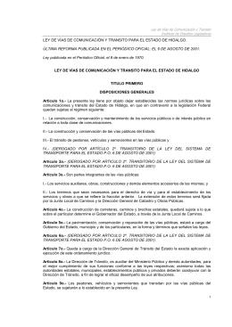 Ley de Vias de Comunicacion y Trasnsito del Estado de Hidalgo