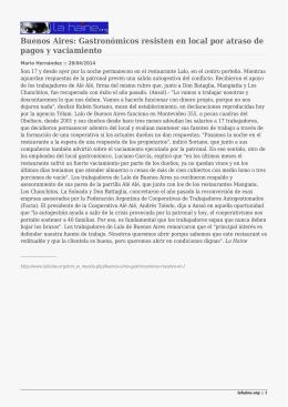 Buenos Aires: Gastronómicos resisten en local por atraso de