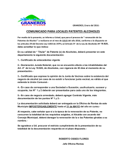 REQUISITOS RENOVACION PATENTES ALCOHOLES