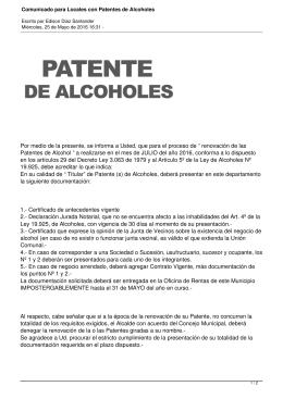 """Por medio de la presente, se informa a Usted, que... Patentes de Alcohol """" a realizarse en el mes de..."""