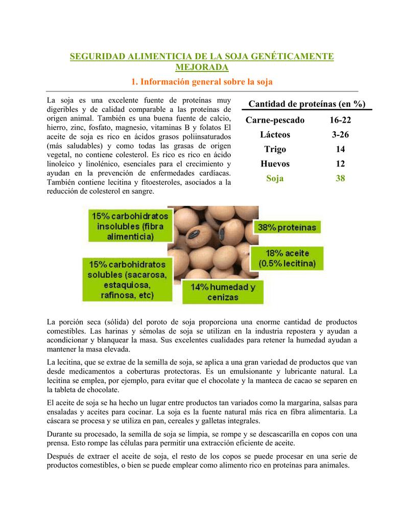 Soja cantidad de proteinas
