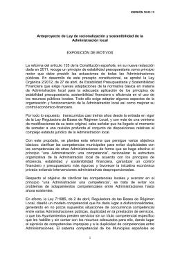 Anteproyecto de Ley de racionalización y sostenibilidad de laAdministración local