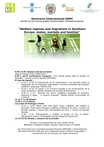 """Welfare regimes and migrations in Southern Europe: states, markets and families"""