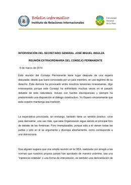 Intervenci n del Secretario General Jos Miguel Insulza en la Reuni n Extraordinaria del Consejo Permanente