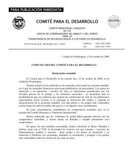 FMI Y Banco Mundial - COMUNICADO DEL COMIT� PARA EL DESARROLLO - Declaraci�n Resumida