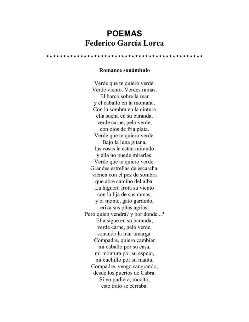 Federico García Lorca Poemas