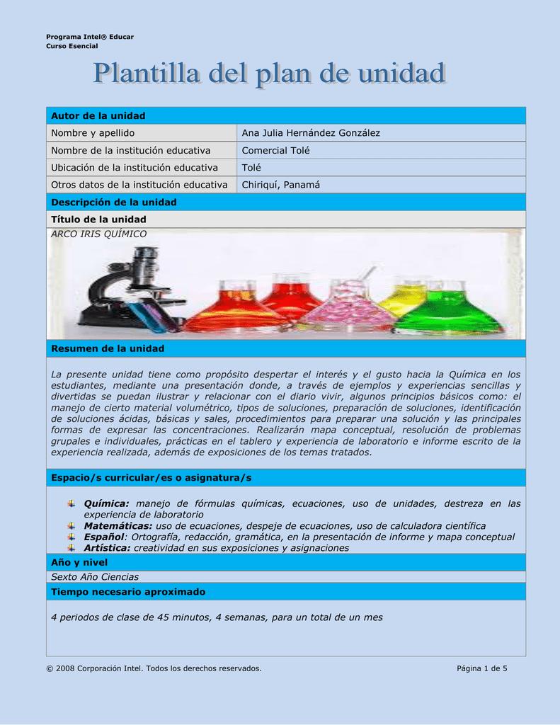 plantilla plan unidad arco iris qumico