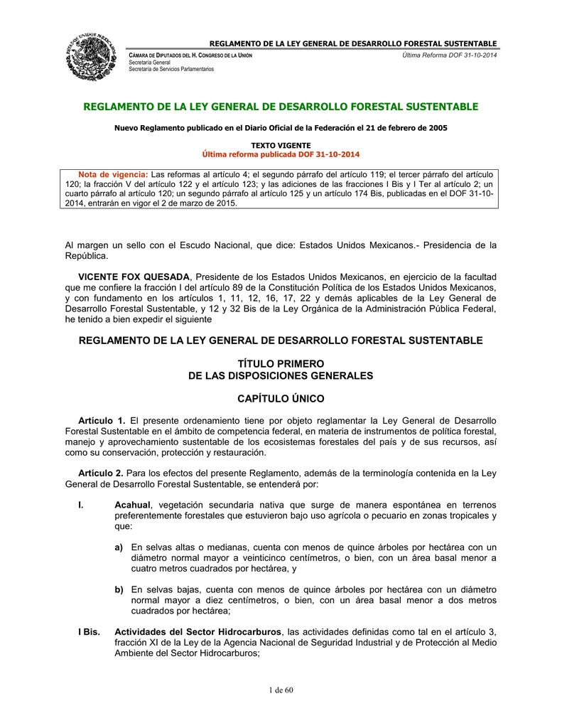 reglamento de la ley general de desarrollo forestal sustentable