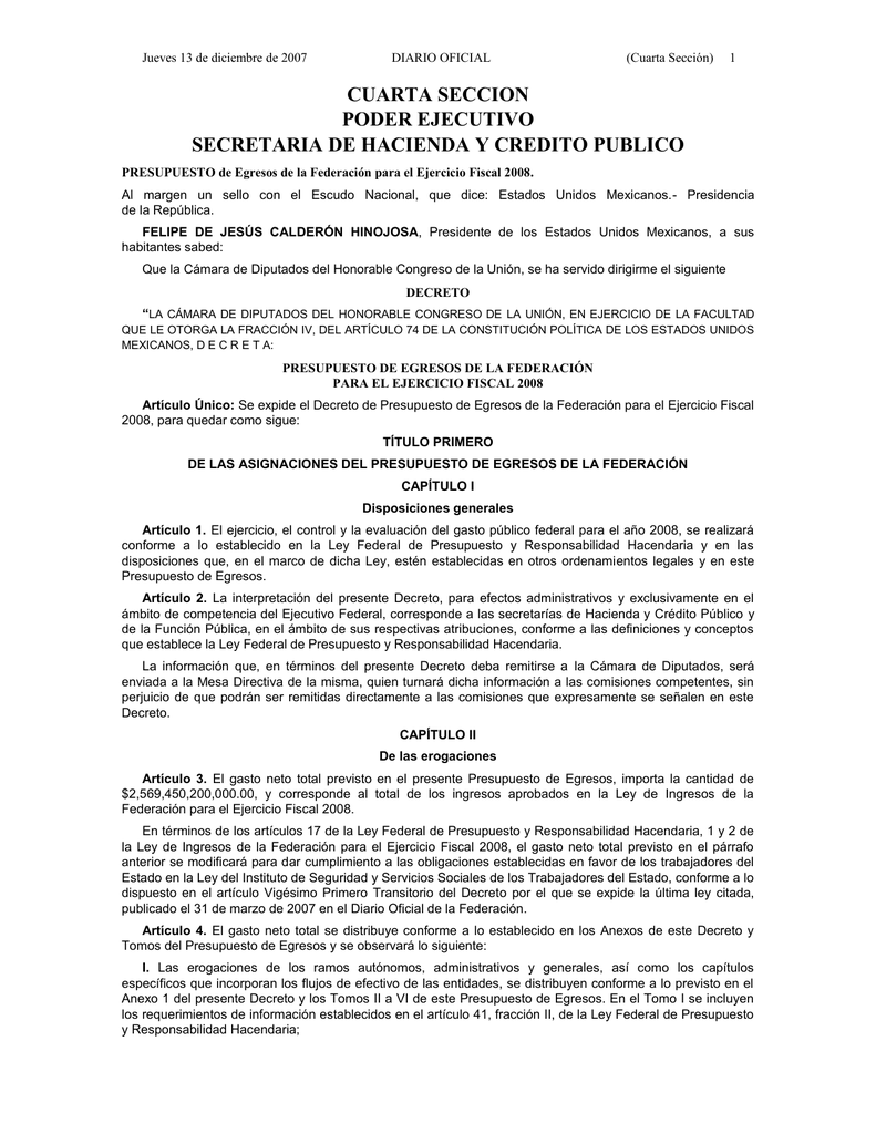 Cuarta Seccion Poder Ejecutivo Secretaria De Hacienda Y