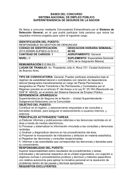 RESPONSABLE EN GESTION DE DENUNCIAS