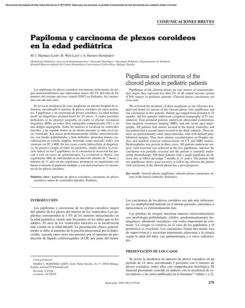 Papiloma y carcinoma de plexos coroideos en la edad pediátrica