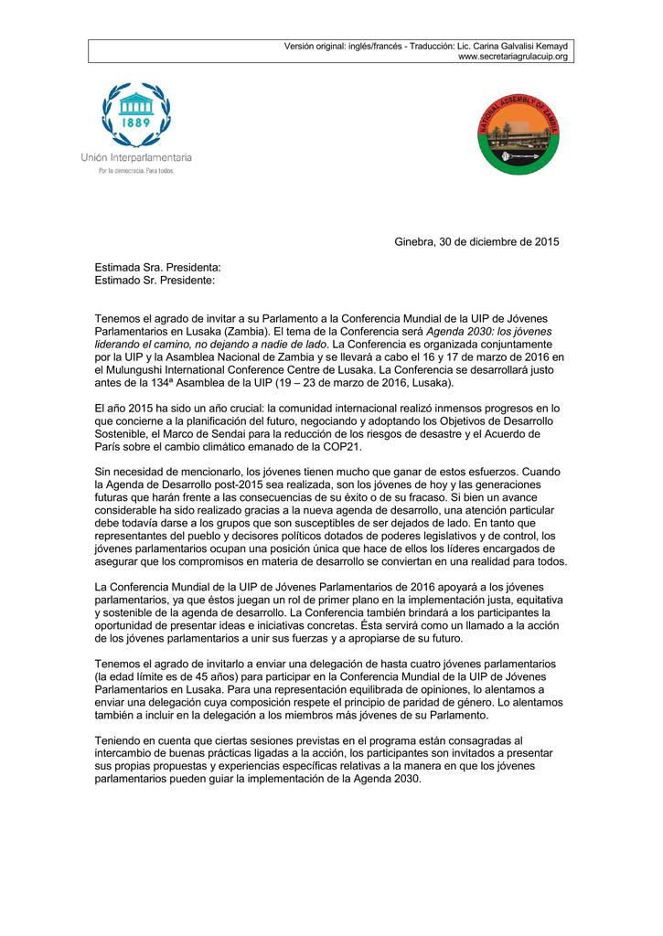 Ginebra, 30 de diciembre de 2015 Estimada Sra  Presidenta