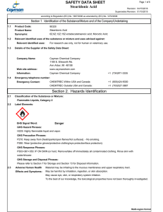Stearidonic Acid SAFETY DATA SHEET Section 2. Hazards