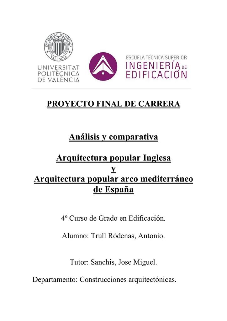 Análisis y comparativa Arquitectura popular Inglesa y Arquitectura