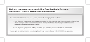 Notice to customers concerning Critical Care