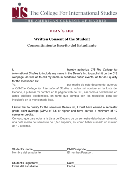 DEAN´S LIST Written Consent of the Student Consentimiento Escrito