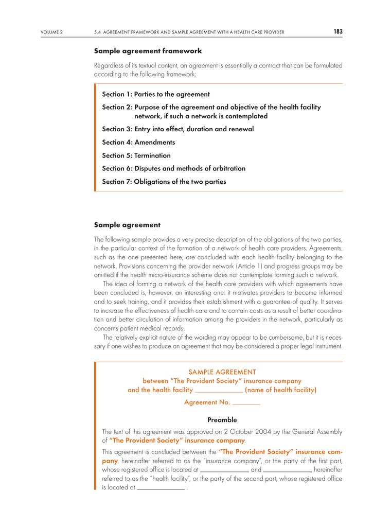 Sample agreement framework Regardless of its textual content, an