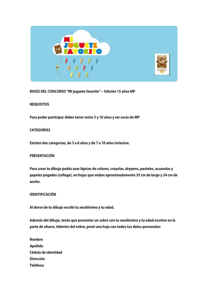 ‒ 15 Bases Edición Favorito Mp Años Mi Concurso Del Juguete wPuikZOTX