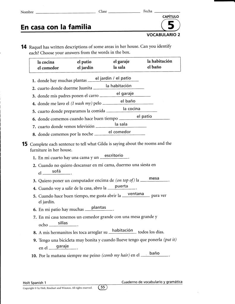 En Casa Con La Familia Capitulo 5 Vocabulario 1 Answers