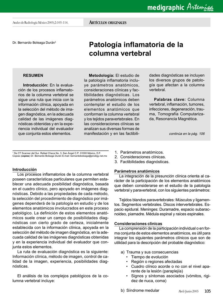 Patología inflamatoria de la columna vertebral