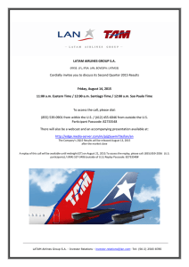 LATAM AIRLINES GROUP S.A. Cordially invites you to discuss its