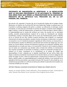 incidente de insumisión al arbitraje. a la resolución que lo declara
