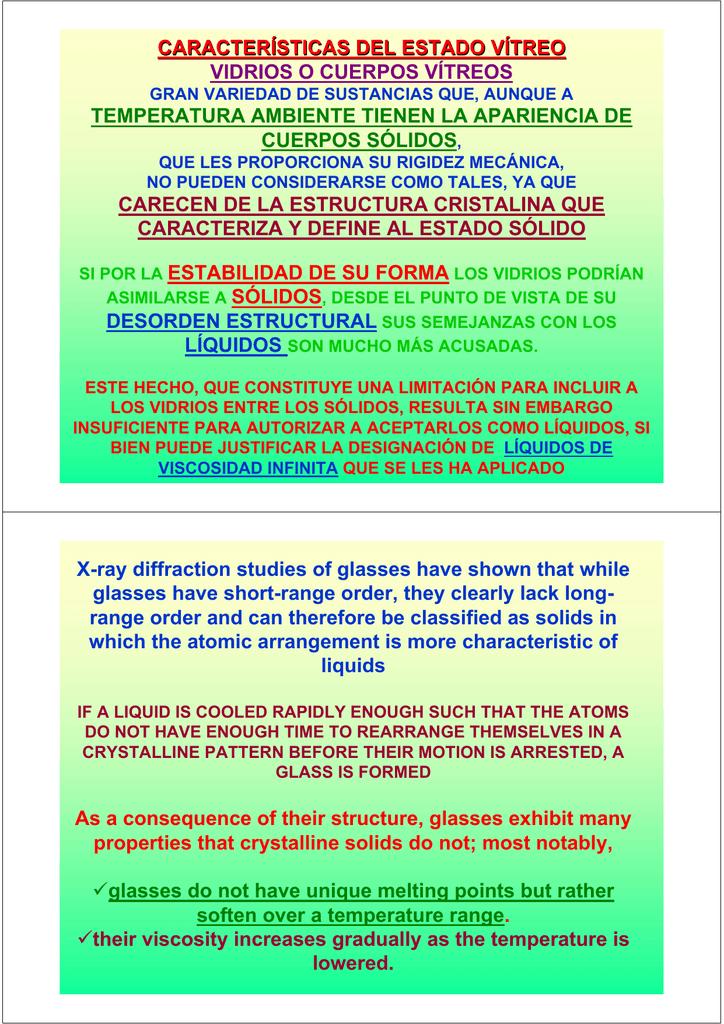 Características Del Estado Vítreo Vidrios O Cuerpos Vítreos