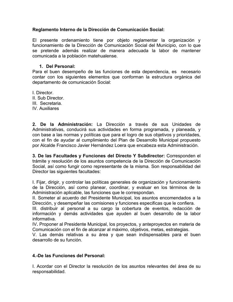 Reglamento Interno De La Dirección De Comunicación Social