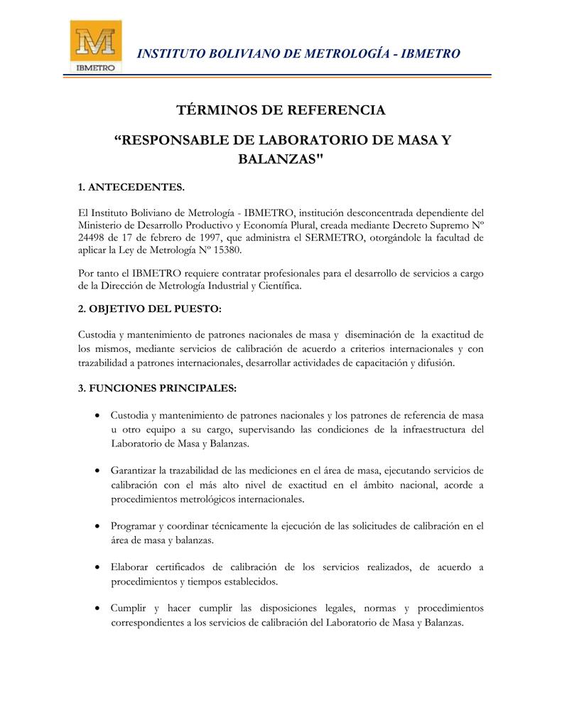 POAI - Responsable de Masa - Instituto Boliviano de Metrología