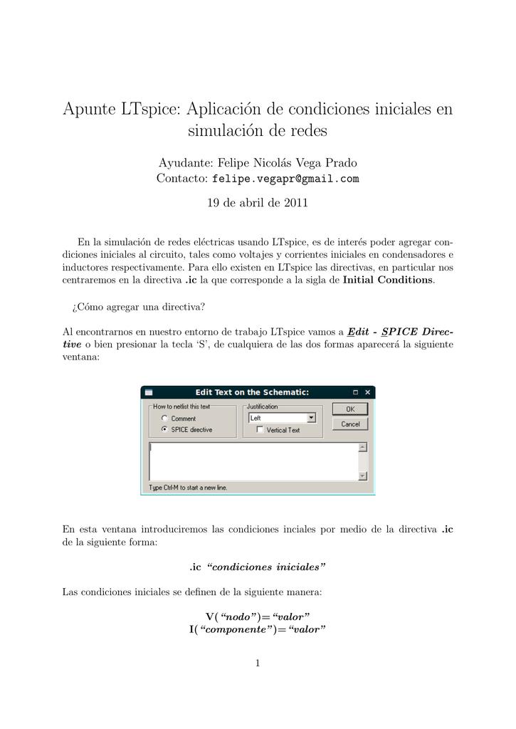 Apunte LTe: Aplicación de condiciones iniciales en ... on