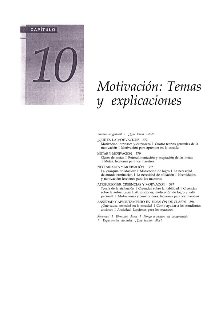 Motivación Temas Y Explicaciones