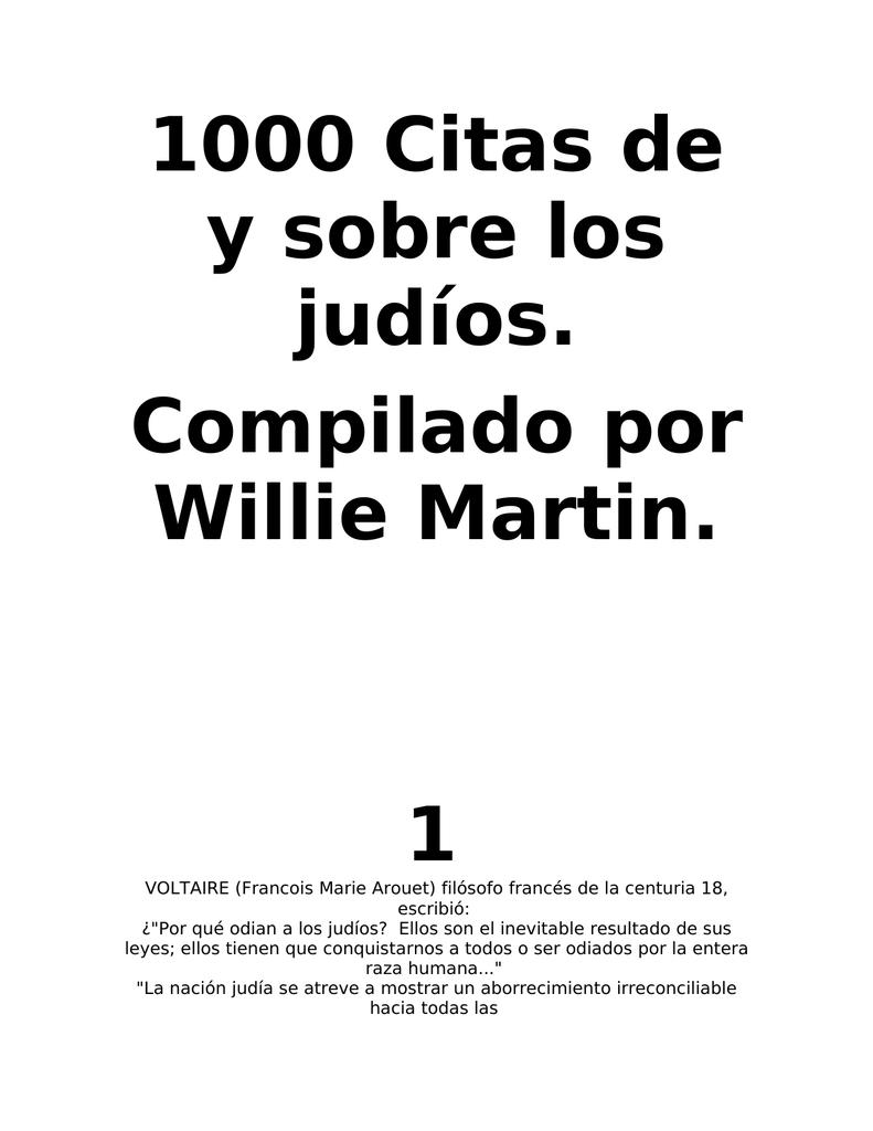 1000 Citas de y sobre los judíos. Compilado por Willie Martin. 1