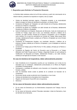 1. Requisitos para Solicitar la Prestación Dineraria