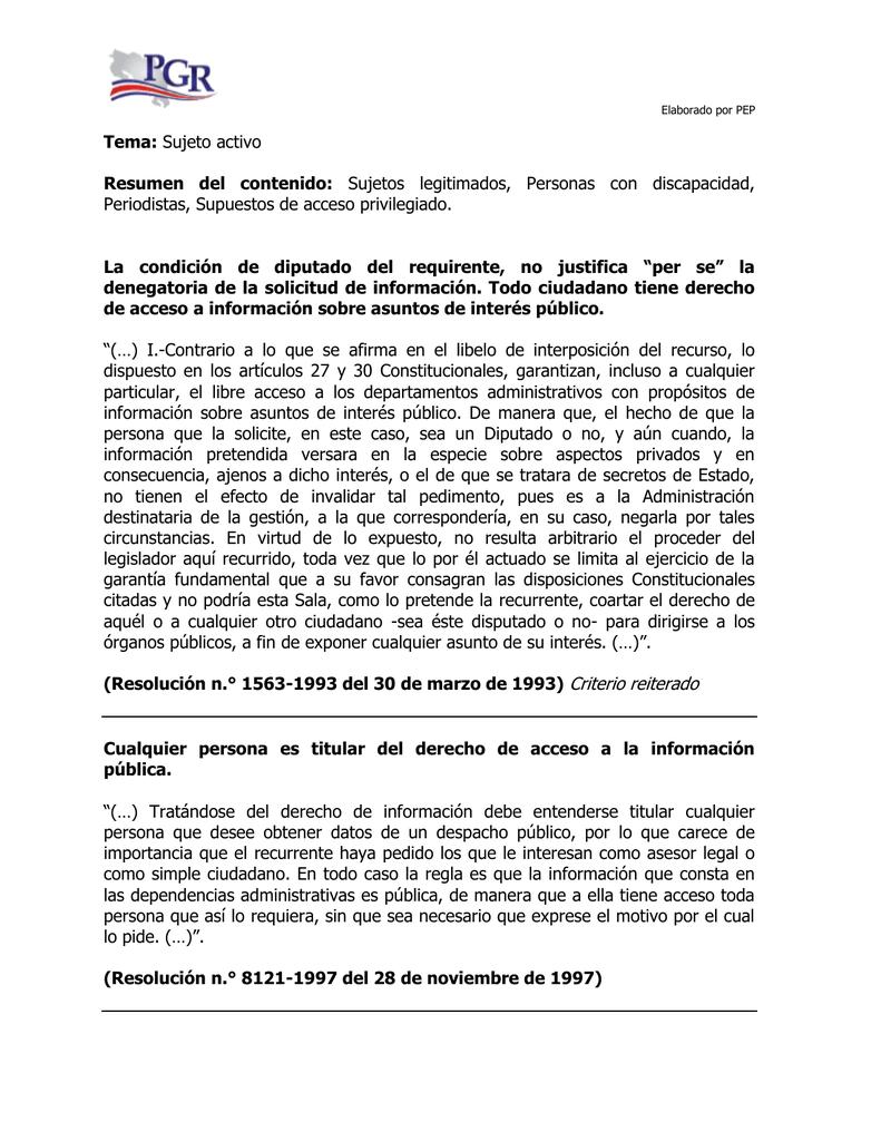 Tema: Sujeto activo Resumen del contenido: Sujetos legitimados