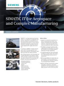 SIMATIC IT for Aerospace and Complex Manufacturing
