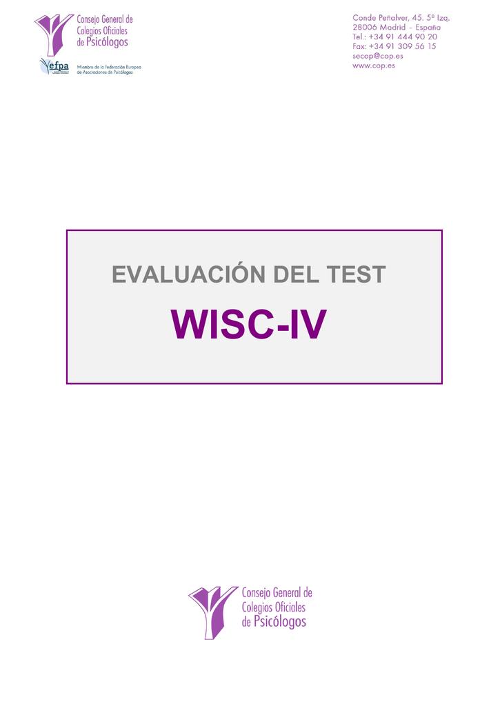 Evaluación del test WISC-IV