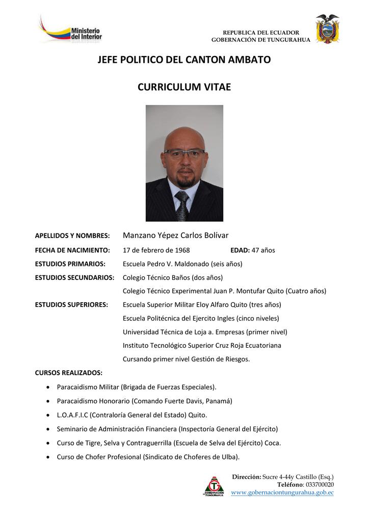 Jefe Politico Del Canton Ambato Curriculum Vitae