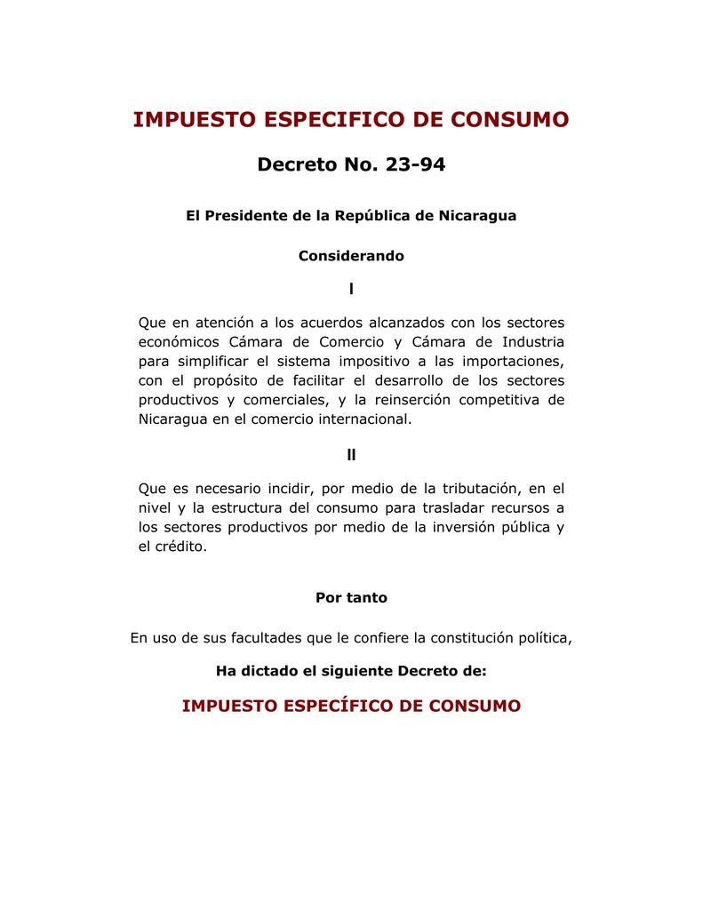 Impuesto Especifico De Consumo Decreto No 23 94