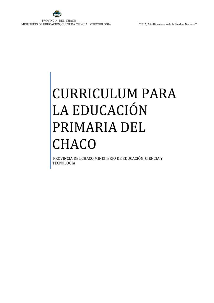 currículum para la educacion primaria del chaco
