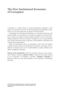 New Institutional Economics of Corruption, The