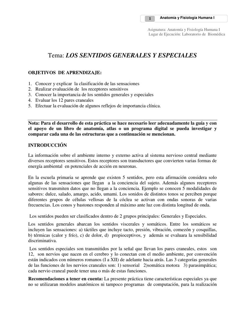 Tema: LOS SENTIDOS GENERALES Y ESPECIALES