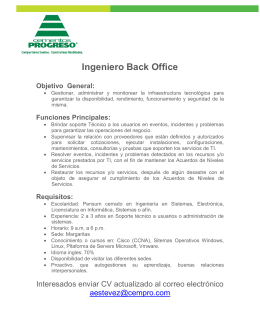 Ingeniero Back Office