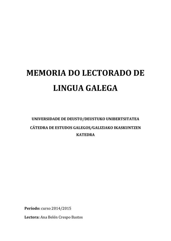 Memoria Do Lectorado De Lingua Galega