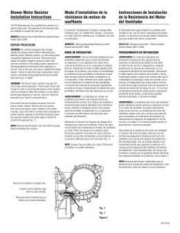 Blower Motor Resistor Installation Instructions Mode d`installation de